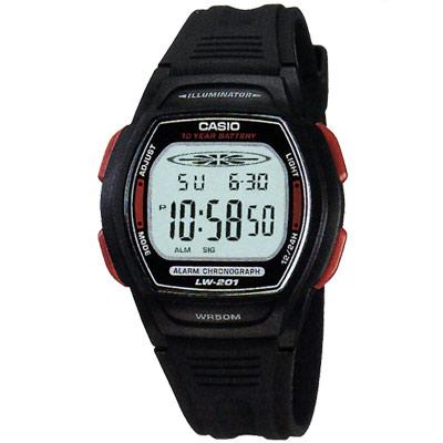 CASIO 10年電量電子運動錶(LW-201-4A)-黑x紅按鍵