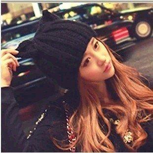 韓國設計款。小辣椒貓耳朵帽子惡魔角毛線帽針織帽牛角帽女秋冬羊毛韓版帽子 K295