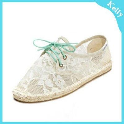 Kelly代購* Soludos【蕾絲綠綁帶】休閒草編帆布鞋 toms
