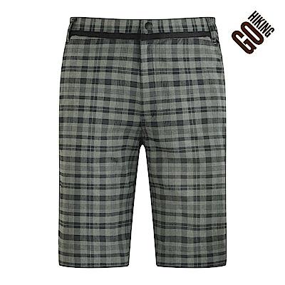 【GOHIKING】男吸排格紋百慕達褲