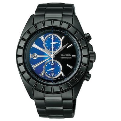 WIRED 晝夜交錯計時腕錶(AR5005X)-黑x藍/42mm