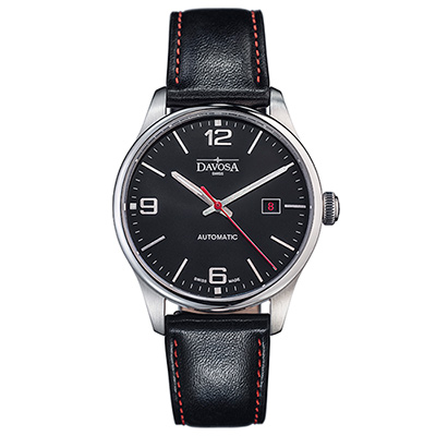 DAVOSA Gentlemen 現代經典紳士系列套裝腕錶-黑面/紅色車線黑皮帶/40mm