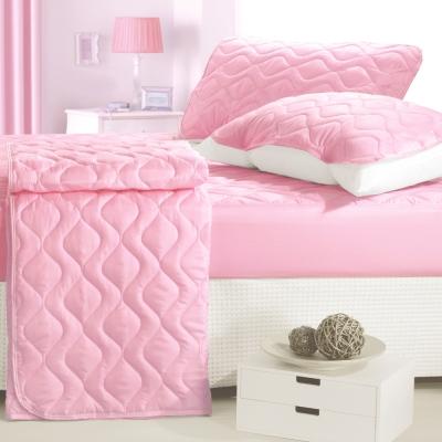 eyah宜雅 台灣製純色加厚舖棉保潔墊床包式雙人3入組 (含保潔墊*1+枕墊*2)-愛戀粉
