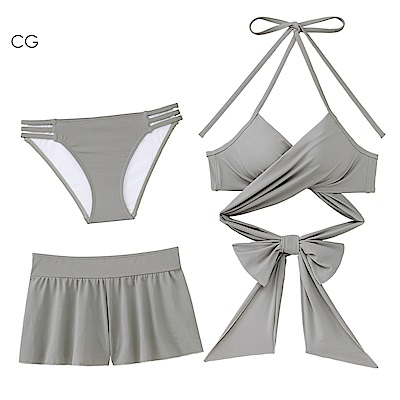 aimerfeel 交叉緞帶3件式泳衣-炭灰色666130-CG