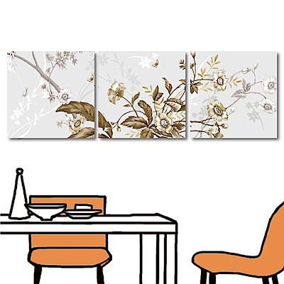 123點點貼 三聯簡約時尚花卉壁貼30x30cm