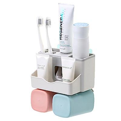 【智慧生活+】多功能無痕收納牙刷架+漱口杯+自動擠牙膏器-2杯款