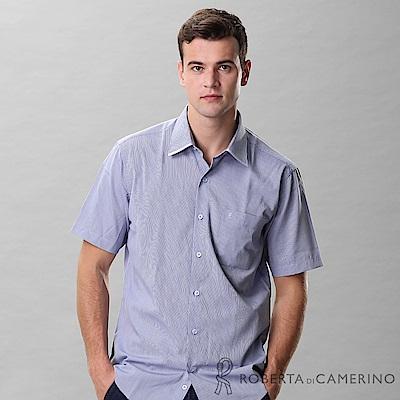 ROBERTA諾貝達 進口素材 台灣製 合身版 商務都會 條紋短袖襯衫 灰藍
