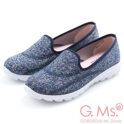 G.Ms. MIT極輕量系列-混彩針織記憶鞋墊休閒鞋-靛藍