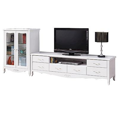 文創集 法賽里法式白8.7尺美型電視櫃/展示櫃組合-262x41x106cm-免組