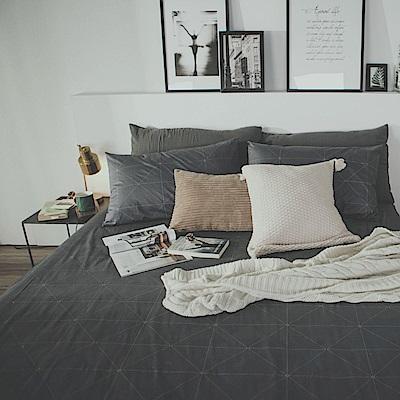 絲薇諾 MIT精梳純棉 艾維斯-黑 雙人加大6尺 三件式- 床包枕套組