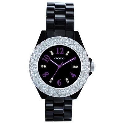 GOTO 晶亮風尚陶瓷晶鑽腕錶-黑x紫/38mm