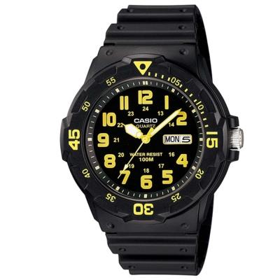 CASIO 潛水風DIVER LOOK指針錶(MRW-200H-9B)-黑/黃刻度/44.6mm