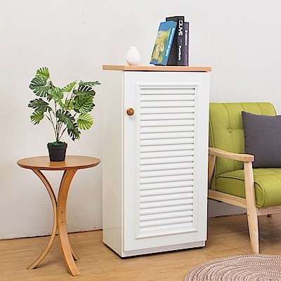Birdie南亞塑鋼-1.6尺單門百葉塑鋼收納置物櫃/隙縫櫃/鞋櫃(白色+木紋色)-49x35x100cm