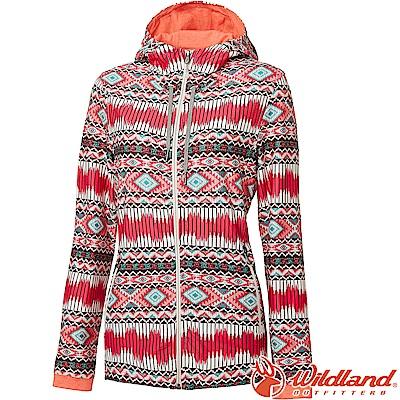 荒野 WildLand 女彈性針織功能印花外套 0A61657-09桃紅