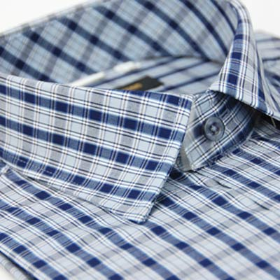 【金安德森】深藍格紋窄版短袖襯衫