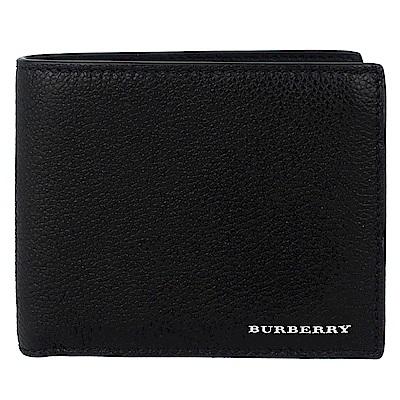 BURBERRY 經典標誌黑色荔枝壓紋真皮短夾