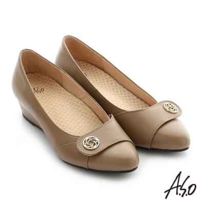 A.S.O 阿瘦 拇指外翻 真皮飾釦奈米楔型跟鞋 卡其 10027000619-17