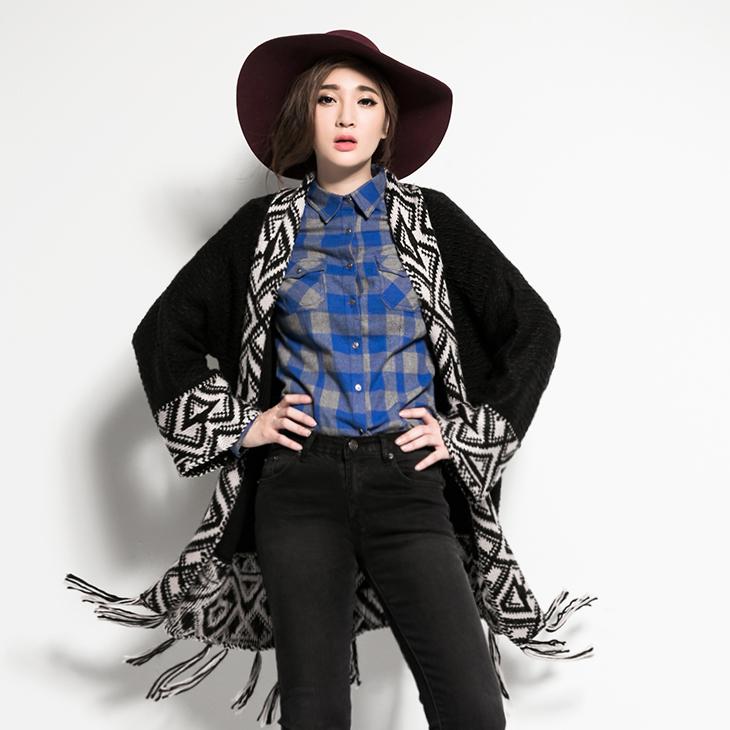 ANNWU聯名系列~流蘇圖騰針織罩衫‧1色