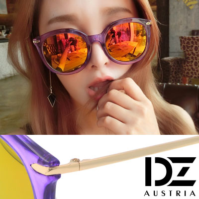 DZ 纖細線調 抗UV 太陽眼鏡墨鏡(透紫框虹膜)