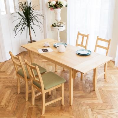 CiS自然行-雙邊延伸實木餐桌椅組一桌四椅 74*166公分/原木+綠椅墊