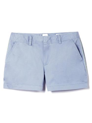 中腰刺繡側條紋都市風短褲
