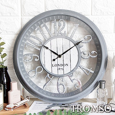 TROMSO紐約時代靜音時鐘-倫敦縷空數字灰