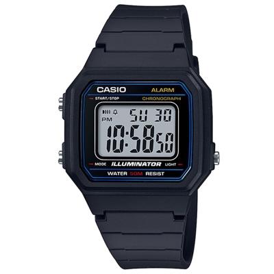 CASIO 復古方款造型超實用數位休閒錶-藍框(W-217H-1A)/41mm