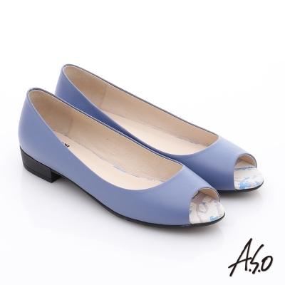 A.S.O 玩美女伶 全真皮素面低跟魚口鞋 紫色