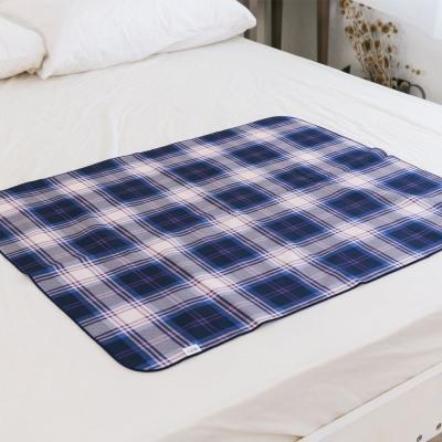 米夢家居-MIT-全方位超防水止滑保潔墊/生理墊/尿布墊-嬰兒75x90cm-藍格紋