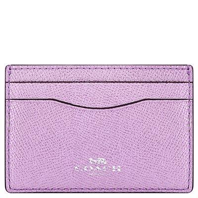 COACH 淺紫色金屬光澤防刮皮革證件名片夾