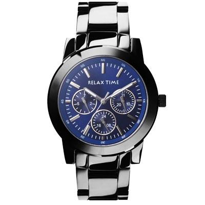 RELAX TIME 經典三眼錶款-黑x藍/38mm