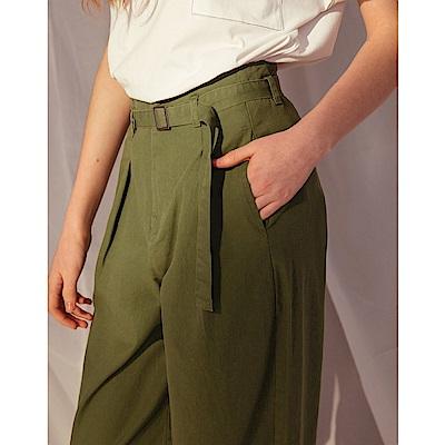 高腰落地修身版型質感棉料可拆式腰帶