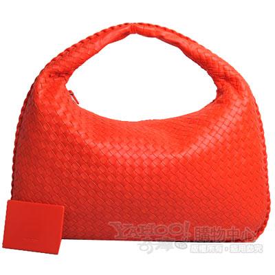 BOTTEGA VENETA 經典小羊皮編織肩背包(鮮橘紅/大)