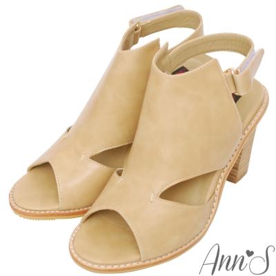 Ann'S時髦達人-後空靴型魚口粗跟涼鞋-杏