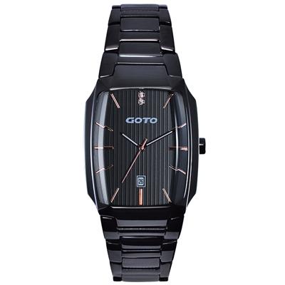 GOTO Laconic時尚腕錶-黑x玫/34mm