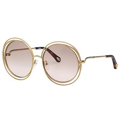 CHLOE圓框 太陽眼鏡金色CE114SC 小面版並可裝眼鏡鏈