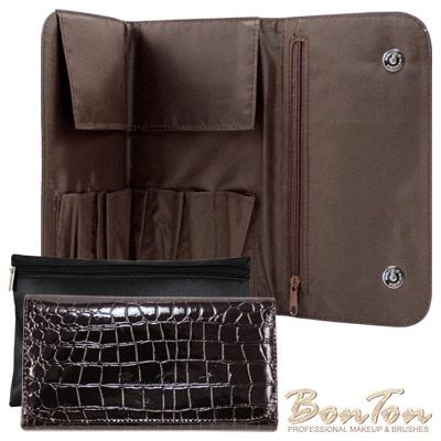 BonTon 9支時尚鱷紋雙磁釦刷具包 爵士咖