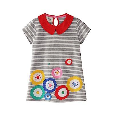 歐美風格兒童純棉短袖長版T-圓圓花