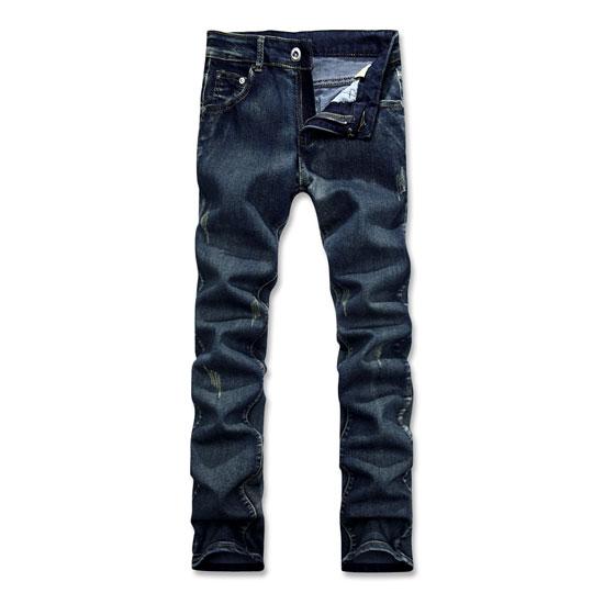經典湛藍水洗丹寧面料.小直筒窄管牛仔褲