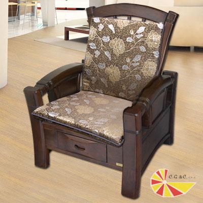 凱蕾絲帝 木椅通~高支撐加厚連體L型坐墊(1入)- 里昂玫瑰咖啡