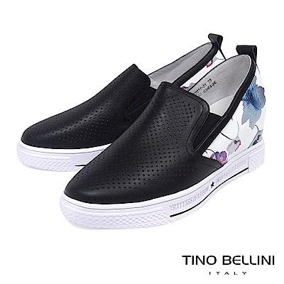 Tino Bellini 真皮沖孔MIX彩繪繁花厚底休閒鞋_ 黑