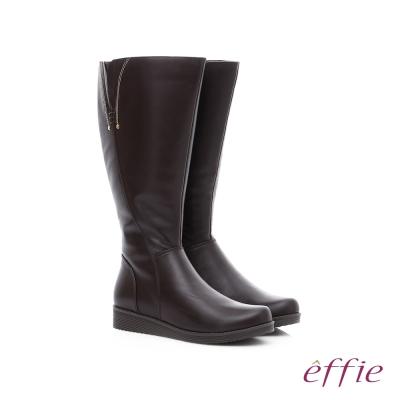 effie 保暖靴 真皮側拉鍊舒適奈米長靴 咖啡色