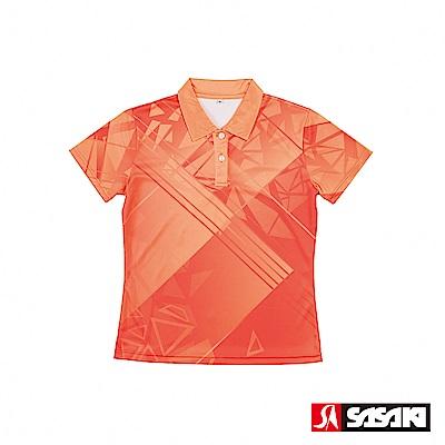 SASAKI 長效性吸濕排汗功能網球短衫-女-夏洛特桔/熱帶橙