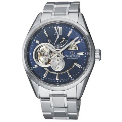 ORIENT STAR 東方之星 OPEN HEART系列 鏤空機械錶 鋼帶款 藍色 RE-AV0003L