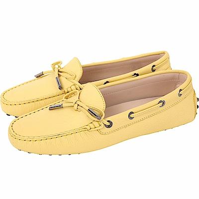 TOD'S Gommino 經典綁帶休閒豆豆鞋(女鞋/黃色)