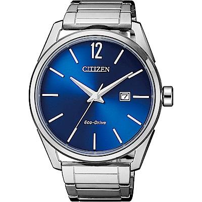 CITIZEN 星辰 光動能極簡大三針手錶(BM7411-83L)-藍/42mm