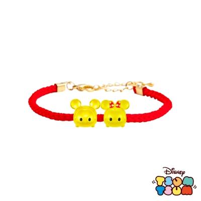 Disney迪士尼TSUM TSUM系列金飾 黃金編織手鍊 米奇款+美妮款