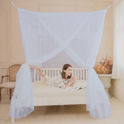 凱蕾絲帝-台灣製造180*200*200公分加高針織蚊帳開三門-粉藍