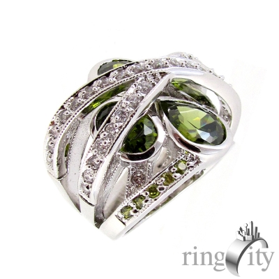 RingCity 碧綠色圓弧線條造型戒