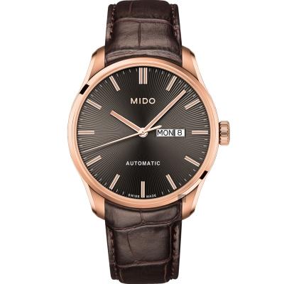 MIDO美度 Belluna Gent 經典日期機械錶-灰x咖啡色錶帶/42mm M0246303606100